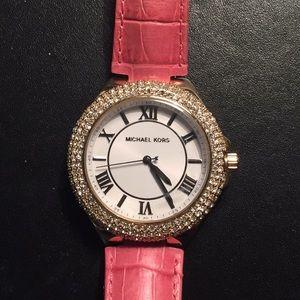 MK Pink Embossed Croco Slim Camille Watch